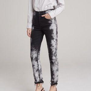 3x1 black kuro marble raw hem jeans new